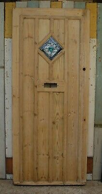 RECLAIMED COTTAGE STYLE STRIPPED PINE FRONT DOOR WITH STAINED GLASS Ref DE0800