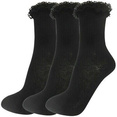 Childs Womens Girls 3 Multi Pack Lace Top Frilly Ankle Calf Socks School Size