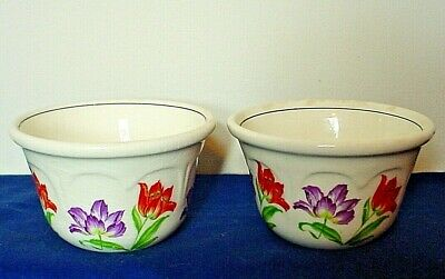 2 Vintage Harker Pottery Custard Cups-Tulip Pattern-Very Good Condition