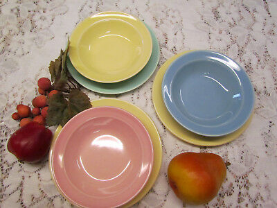 "(6) Vtg Retro LU-RAY PASTELS Blue Pink Green (3) 6"" DESSERT PLATE (3) Fruit Bowl"
