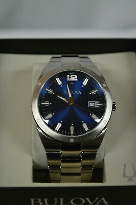 Bulova Classic Men's 96B220 Quartz Blue Dial Silver-Tone Bracelet 43mm Watch NEW