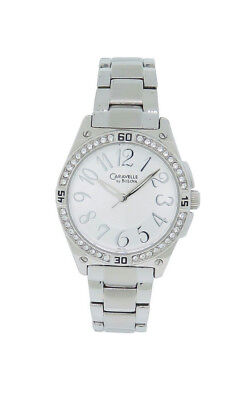 Caravelle by Bulova 43L113 Women's Round Analog Clear Stones Silver Tone Watch