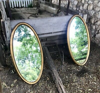 Vintage•Mid Century Modern•Hollywood Regency•Pair Of Large•Oval•Gold Mirrors