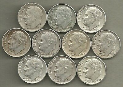 Roosevelt Dimes - US 90% Silver Coin Lot - 10 Circulated Coins #3806