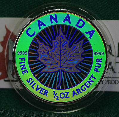 2003 CANADA $4 Hologram Silver Maple Leaf 1/2 oz Reverse proof 99.99% silver
