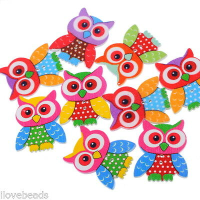 20PCs Mixed 2 Holes Sewing Wooden Buttons Scrapbooking Owl Pattern 3.5x2.8cm