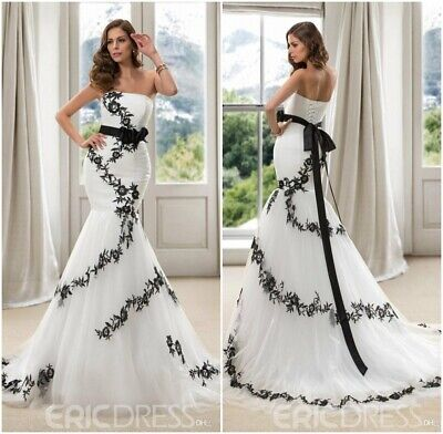 88fbf2785380 Belt Noble White Black Embroidery Wedding Dress Tulle Strapless Mermaid Gown