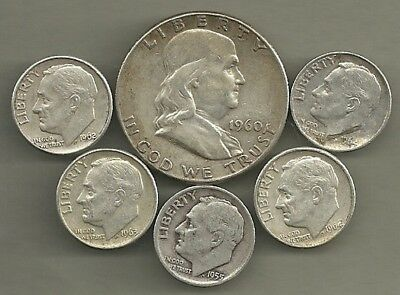 Franklin Half Dollar & Roosevelt Dimes- 90% Silver- US Coin Lot - 6 Coins #3889