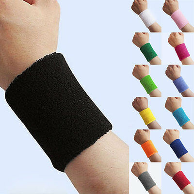 Sports Wrist Sweatbands Unisex Wristband Band Tennis Squash Badminton Gym New