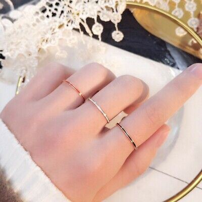 1mm Thin Stackable Ring 14k Rose Gold Plated Stainless Steel Band Ring for Women