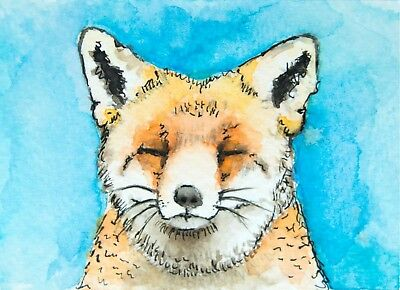 Fox Watercolour Art Original ACEO Painting - Mini British Fox Watercolor Artwork
