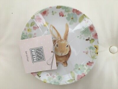 (4) NEW 222 Fifth SYDNEY Easter Floral Bunny Rabbit Appetizer Dessert PLATES