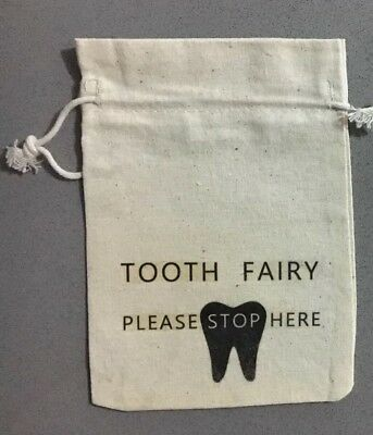 """Children's tooth fairy Drawstring bag """"Tooth Fairy Please Stop Here"""""""