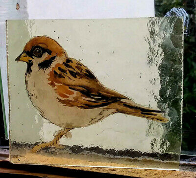 Stained Glass Sparrow - vintage Kiln fired transfer fragment bird pane!