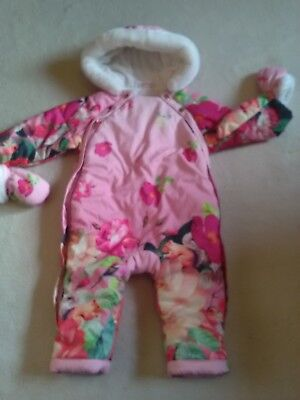 8c9f2c5ba TED BAKER BABY Girls Snowsuit Fur Bear All In One Footless Pram Suit ...