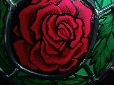 Victorian Style Rose - Stained Glass Hand-Painted - 32 x22 with Chain
