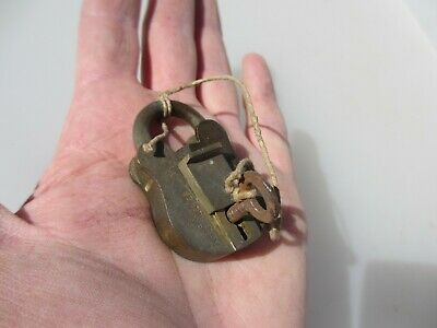 Small Vintage Brass Door Padlock Lock Antique with Iron Key