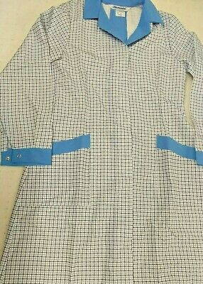 Alexandra WorkWear White With Blue Check Long Sleeve Tunic Dress Euro 38 BNIP