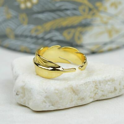 14k Gold Plated Sterling Silver Feather Ring, Bohemian Ring