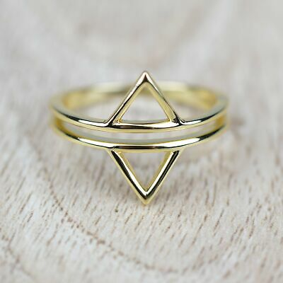 14k Gold Plated Sterling Silver Split Band Double Triangle Ring