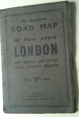 Vintage Road Map 30 Miles About London