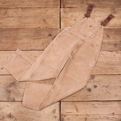 Boys Vintage Carhartt Washed Duck Workwear Overall Dungarees 14 16 Large R11627