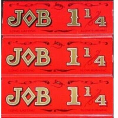 3 Packs JOB Red 1-1/4 Rolling Papers 1.25 slow burning 24 Lvs/pk