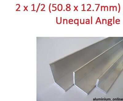 ALUMINIUM UNEQUAL ANGLE 2 x 1/2, 1 thickness, lengths 100mm to 2.500mm