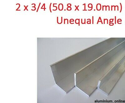 ALUMINIUM UNEQUAL ANGLE 2 x 3/4, 1 thickness, lengths 100mm to 2.500mm