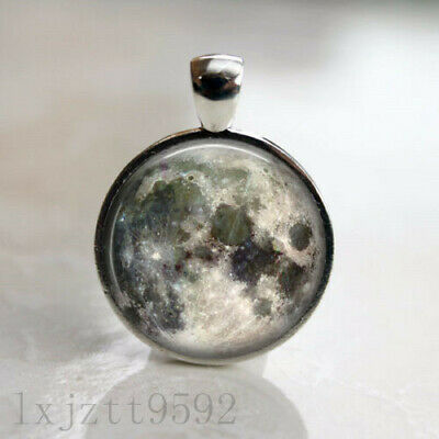 Full Moon Space Lunar Image Necklace Pendant and 18in Chain Antique Silver