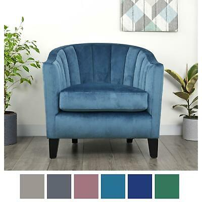 Velvet Oyster Tub Chair Armchair Seat Home Living Room Bedroom Lounge Furniture