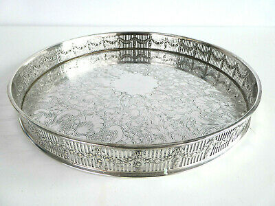"""12"""" 30cm Vintage Round Silver Plated Drinks Chased Gallery Serving Tray Cocktail"""