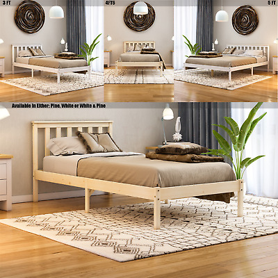 Wood Bed Sydney Single Double King Size 3ft 4ft6 5ft Frame Mattress White Pine