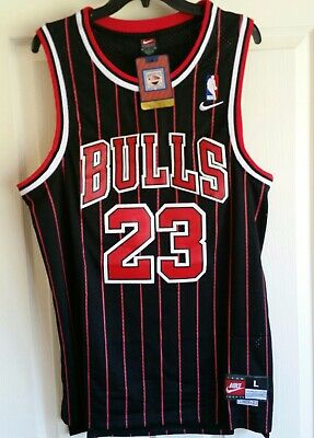 best website 219d2 3762a NWT MICHAEL JORDAN #23 Chicago Bulls Black & Red Stripe Stitched Jersey  Large L