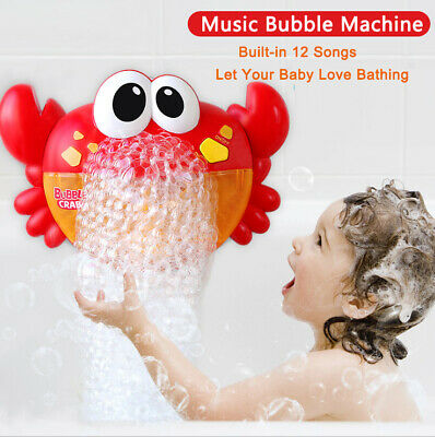 Kid Baby Bubble Crab Frog Automatic Shower Music Machine Blower Maker Bath Toys