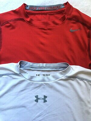 0043a32643f8 Boys XL Base Layer Nike Pro Combat Under Armour Heatgear Red White Youth XL