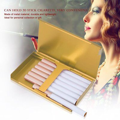 Elegant Thin Slim Aluminum Wiredrawing 20 Cigarette Case Box Holder Gold S2