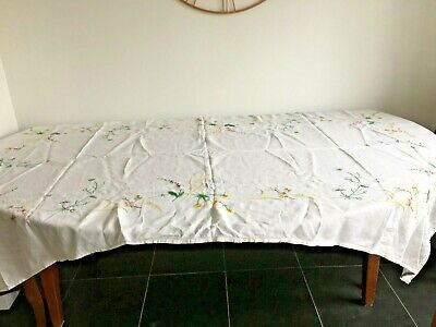 Extra Large Rectangular Hand Embroidered Wild Flowers Table Cloth Irish Linen
