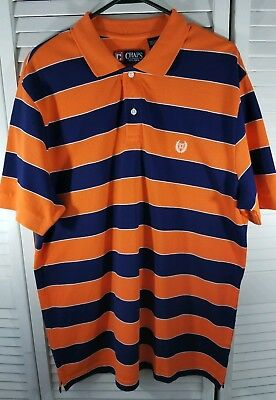 abb4ae84845 CHAPS Mens Large Orange Navy Blue Short Sleeve Cotton Dress Polo Shirt New