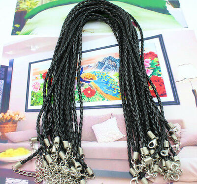 6 pcs Very beautiful Fluorescent BLACK handmade woven leather necklace
