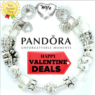 "PANDORA Silver Bracelet Bangle with ""Love Story"" WIFE White European Charms"