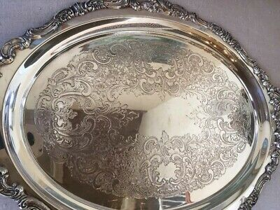 "Baroque by Wallace Silverplate Tray #293 23.5"" x 14 3/4"". Beautiful!"