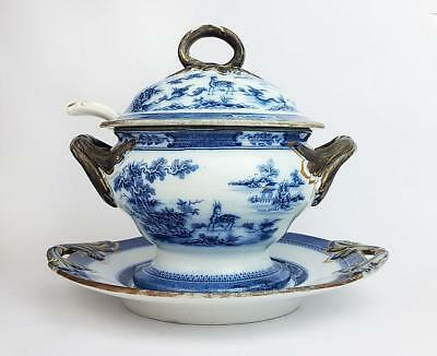 Georgian PEARLWARE INDIAN PATTERN Chinoiserie TRANSFERWARE TUREEN c1820 a/f