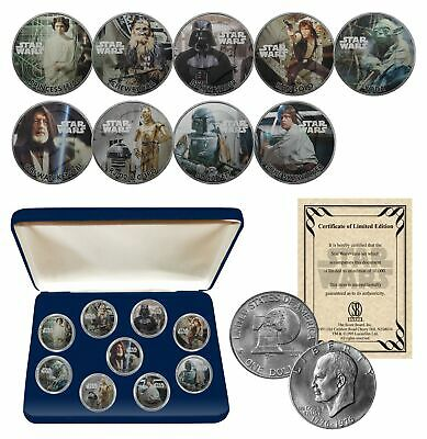 STAR WARS Genuine 1977 Eisenhower Dollar 9-Coin Set w/ BOX - OFFICIALLY LICENSED