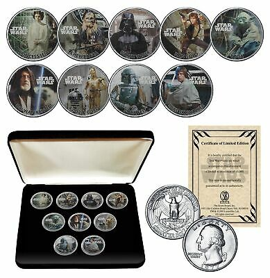STAR WARS Genuine 1977 Washington Quarter 9-Coin Set w/BOX - OFFICIALLY LICENSED