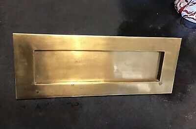 """Antique Vintage Old Brass Door Letter Box Flap Plate Reclaimed Salvaged 10"""" wide"""