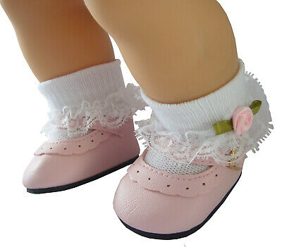 Pink Shoes + Rosebud Socks for Bitty Baby Doll Clothes High Quality