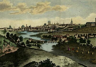 Dublin Ireland prospect birds-eye city view 1783 beautiful hand colored print