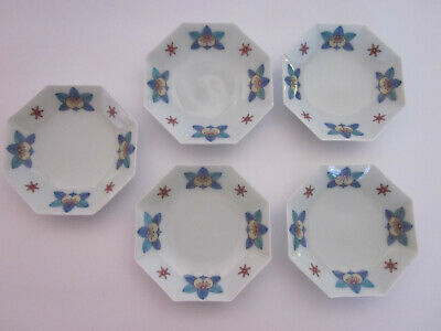 5 small 8-sided dishes china foliate fruit blue red tan Japanese mark in blue