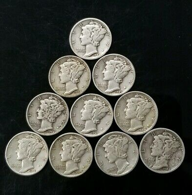 1940's Mercury Dimes Lot of 10 - 90% Silver - US Coins [SC8151]